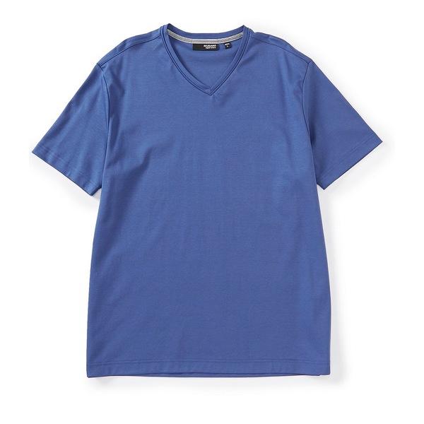 ムラノ メンズ Tシャツ トップス Liquid Luxury Solid Short-Sleeve V-Neck Tee Dusty Cobalt
