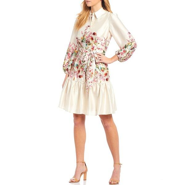 アントニオメラニー レディース ワンピース トップス Damian Floral Placement Print Belted Twill Flounce Hem Shirtdress Vanilla/Bubblegum