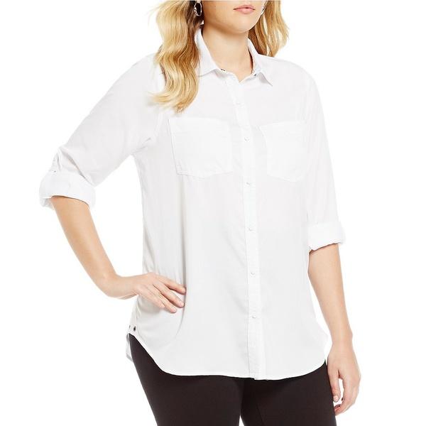 イントロ レディース シャツ トップス Plus Roll-Tab Sleeve Button Front Slub Lyocell Shirt Bright White