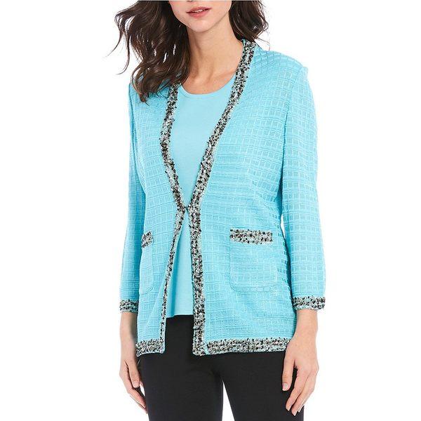ミソーク レディース ジャケット&ブルゾン アウター Bracelet Sleeve Boucle Ribbon Knit Trim Jacket Frosty Blue/Black