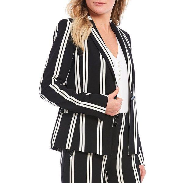 カールラガーフェルド レディース ジャケット&ブルゾン アウター Stripe Double Weave One-Button Blazer Black/White