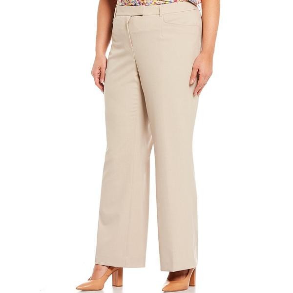 タハリエーエスエル レディース カジュアルパンツ ボトムス Plus Size B-Stretch Bell Bottom Full Length Trouser Pant Tan