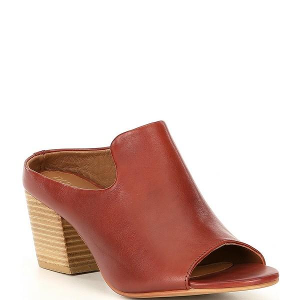 ディバトゥルー レディース サンダル シューズ Catch She Asymmetrical Leather Block Heel Mules Cognac