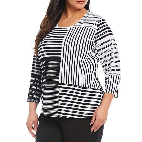 アリソンダーレイ レディース Tシャツ トップス Plus Size Striped Colorblock 3/4 Sleeve Knit Jersey Top Stripe Patch