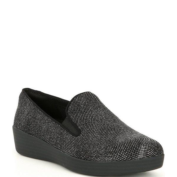 フィットフロップ レディース スリッポン・ローファー シューズ Superskate Embellished Platform Loafers Black Glimmer