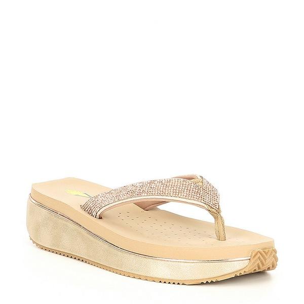 ボラティル レディース サンダル シューズ Eleanor Rhinestone Embellished Wedge Thong Sandals Rose Gold