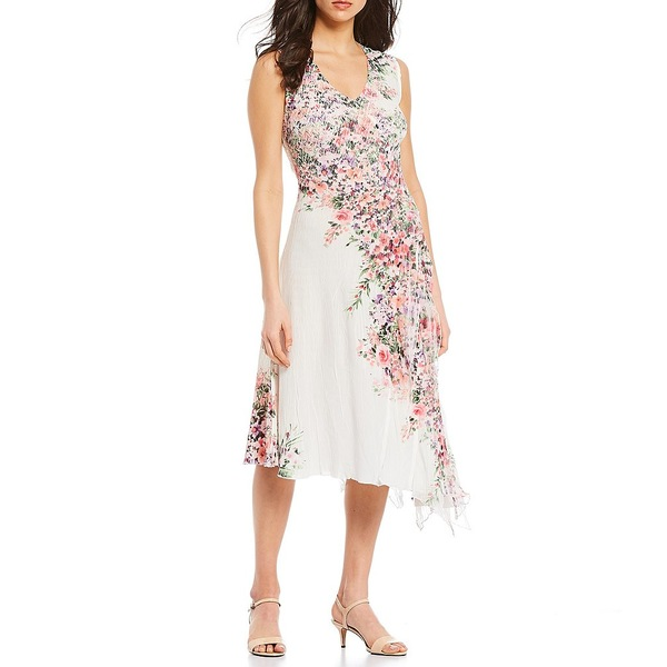 コマロフ レディース ワンピース トップス V-Neck Sleeveless Chiffon Ruffle Georgette Floral Placement Print Asymmetric Hem Midi Dress French Trellis