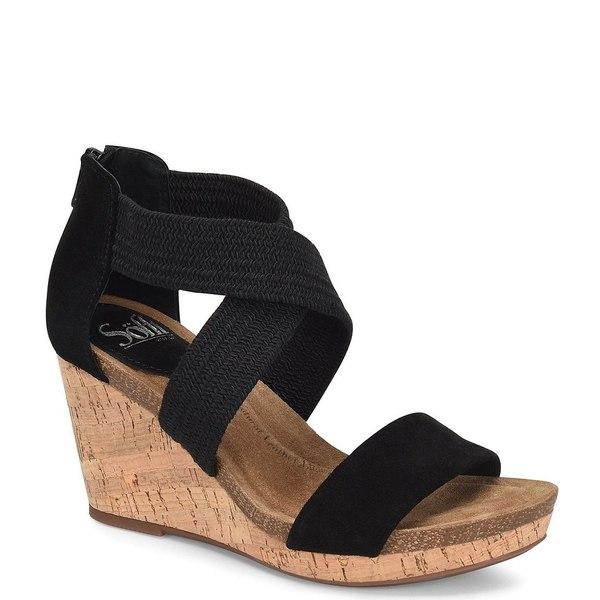 ソフト レディース サンダル シューズ Chalette Suede Stretch Cork Wedge Sandals Black