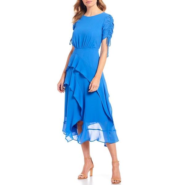 メゾン タラ レディース ワンピース トップス Ruched Tie Sleeve Tiered Asymmetric Hem Midi Dress Periwinkle