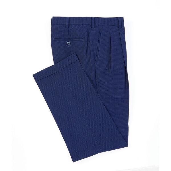 ランドツリーアンドヨーク メンズ カジュアルパンツ ボトムス TravelSmart Fancy Checked Pleated Dress Pants Blue