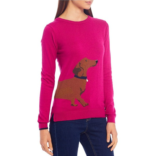 ジュールズ レディース ニット&セーター アウター Miranda Cotton Blend Dachshund Dog Print Sweater Pink Dog