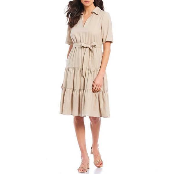 ドナモーガン レディース ワンピース トップス Collared Ruffle Tiered Short Sleeve Linen Dress Natural