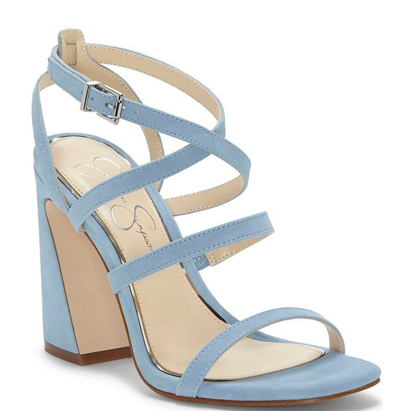 ジェシカシンプソン レディース サンダル シューズ Raymie Suede Flair Heel Strappy Square Toe Sandals Blue