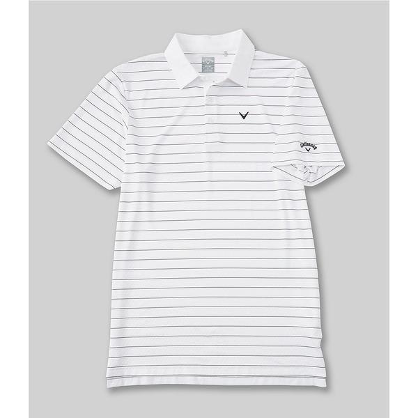 キャラウェイ メンズ シャツ トップス Golf Short-Sleeve Vent Stripe Polo Bright White