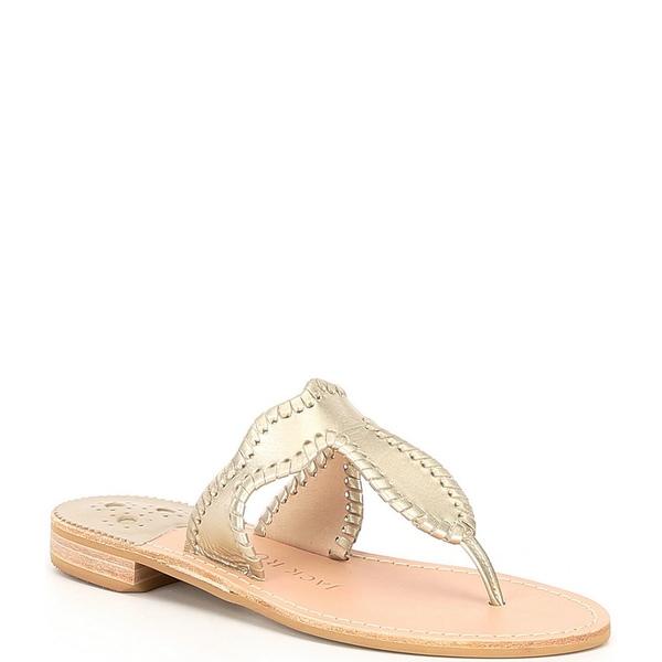 ジャックロジャース レディース サンダル シューズ Jackie Leather Flat Thong Sandals Platinum