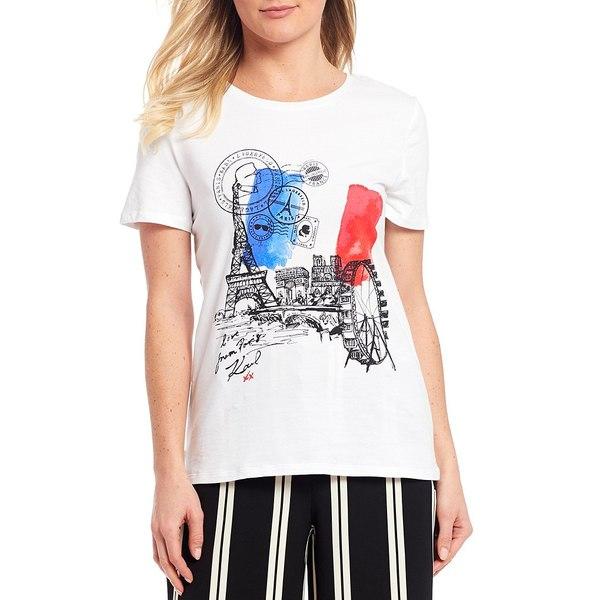 カールラガーフェルド レディース Tシャツ トップス Ferris Wheel Flag Logo Tee Soft White