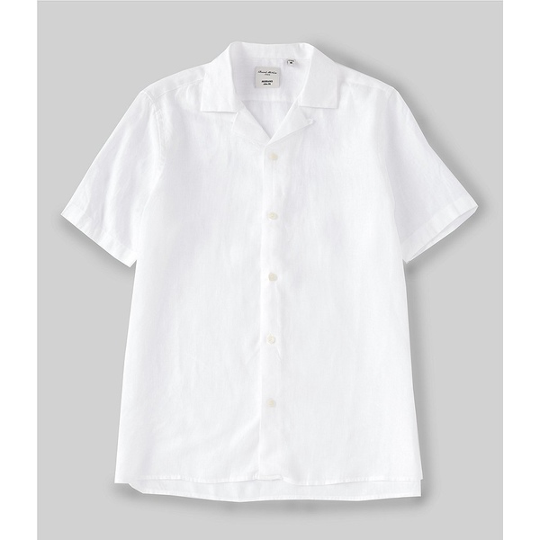 ムラノ メンズ シャツ トップス Slim-Fit Baird McNutt Linen Short-Sleeve Woven Camp Shirt White