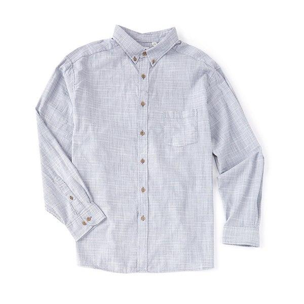 ロウン メンズ シャツ トップス Long-Sleeve Solid Slub Sportshirt Blue