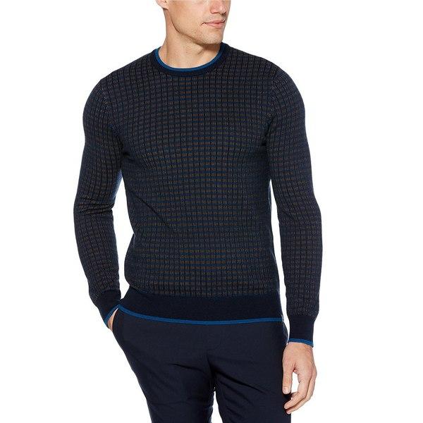 ペリーエリス メンズ ニット&セーター アウター Tri-Color Grid Pattern Sweater Dark Sapphire