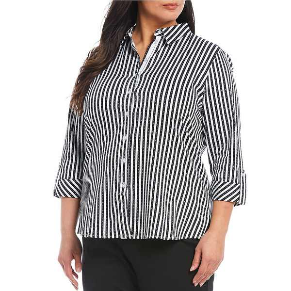 アリソンダーレイ レディース シャツ トップス Plus Size Stripe Stretch Sateen 3/4 Sleeve Button Down Shirt Black Pin Dot