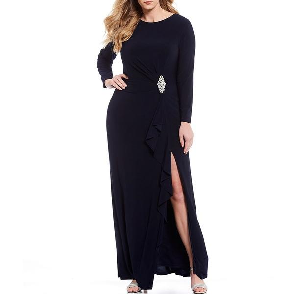 カチェット レディース ワンピース トップス Plus Size Draped Matte Jersey Long Sleeve Gown Navy