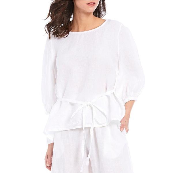 ブリンウォーカー レディース シャツ トップス Cara 3/4 Balloon Sleeve Tie Back Light Linen Shirt White