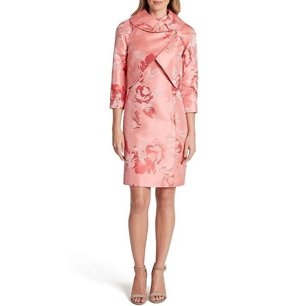 タハリエーエスエル レディース ワンピース トップス 3/4 Sleeve Floral Jacquard Cropped Wrap Jacket 2-Piece Dress Suit Coral Floral Jacquard