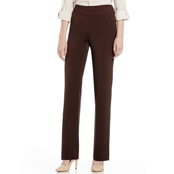 インベストメンツ レディース カジュアルパンツ ボトムス Petite Size the PARK AVE fit Pull-On Straight Leg Pant with Pockets Coffee