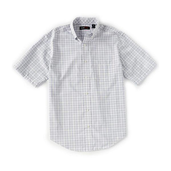 ランドツリーアンドヨーク メンズ シャツ トップス TravelSmart Big & Tall Short-Sleeve Tattersall Sportshirt White
