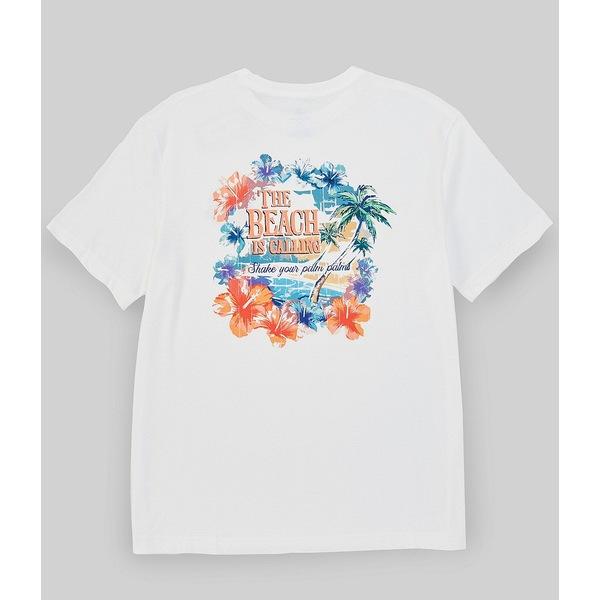カリビーン メンズ Tシャツ トップス Big & Tall Tropical Paradise Graphic Short-Sleeve Tee White