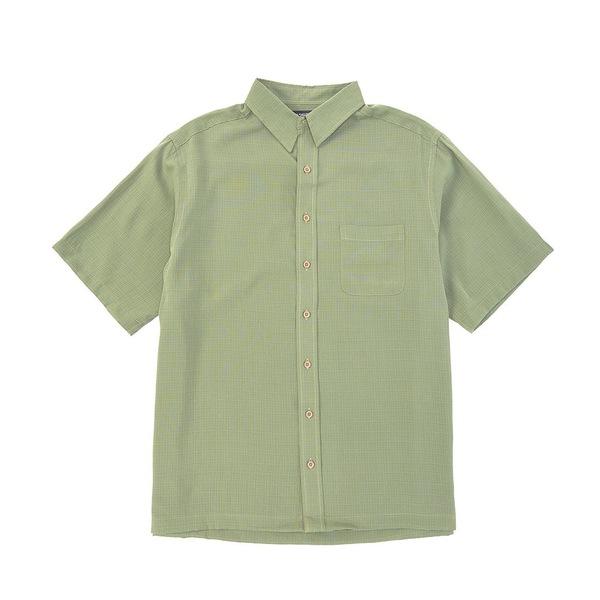 ランドツリーアンドヨーク メンズ シャツ トップス Big & Tall Short-Sleeve Solid Textured Shirt Leaf Green