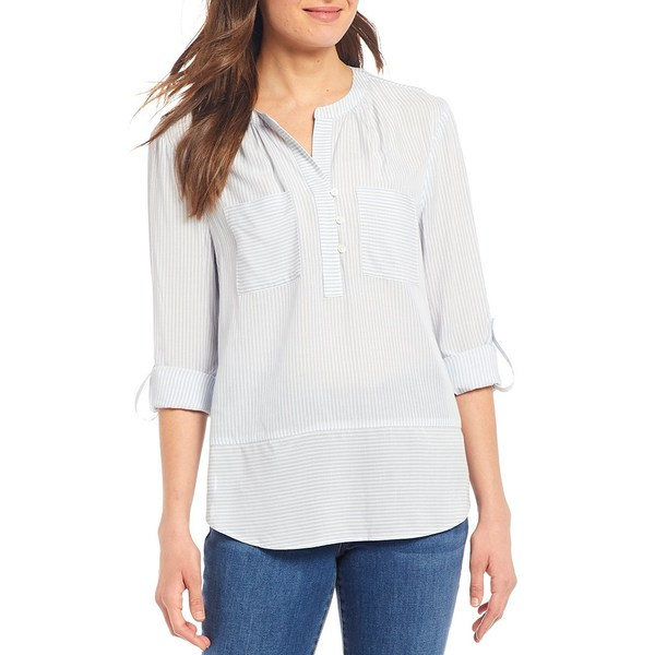 ウェストボンド レディース シャツ トップス Petite Size Roll Tab Sleeve Two Pocket Popover Shirt Blue Pinstripe