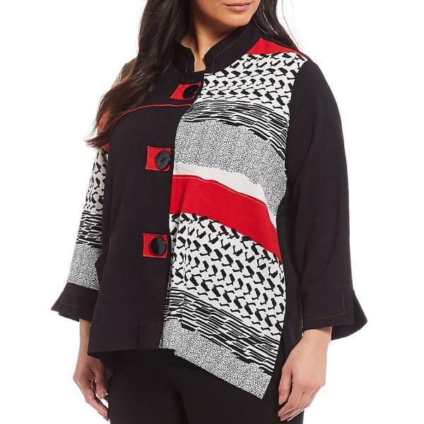 アリ マイルス レディース ジャケット&ブルゾン アウター Plus Size Colorblock 3/4 French Cuff Sleeve Button Front Jacket Black/Red