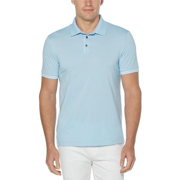ペリーエリス メンズ シャツ トップス Big & Tall End-On-End Icon Short-Sleeve Polo Shirt Cerulean