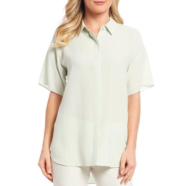 エイリーンフィッシャー レディース シャツ トップス Silk Georgette Crepe Classic Collar Short Sleeve Shirt Mist