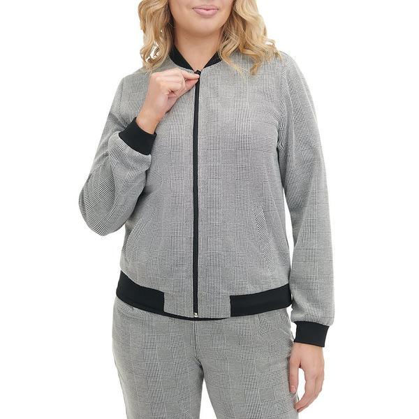 アリソンダーレイ レディース ジャケット&ブルゾン アウター Petite Size Glen Plaid Ponte Knit Zip Front Bomber Jacket Grey Glen Plaid