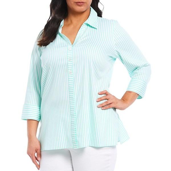 フォックスクラフト レディース シャツ トップス Plus Size Pamela Day Stripe Print Cotton Blend Non-Iron Stretch Sateen Shirt Creme De Mint