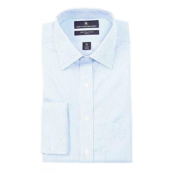 ハートシャファネールマークス メンズ シャツ トップス Non-Iron Classic Fit Spread Collar Tonal Stripe Dress Shirt with French Cuffs Blue