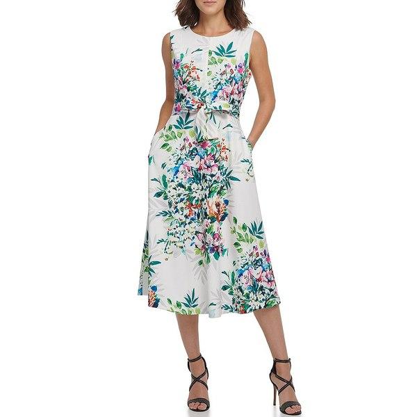 ダナ キャラン ニューヨーク レディース ワンピース トップス Wildflower Fit & Flare Tie Waist Sleeveless Midi Dress Cream Multi