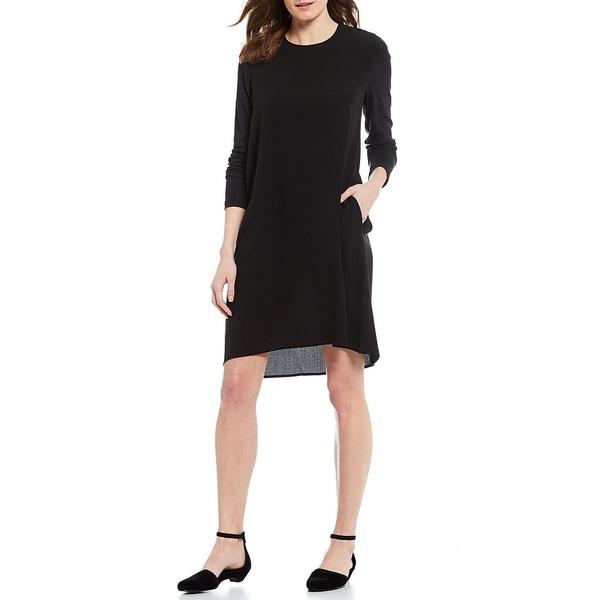 エイリーンフィッシャー レディース ワンピース トップス Silk Georgette Crepe Round Neck Curved Hi-Low Shift Dress Black