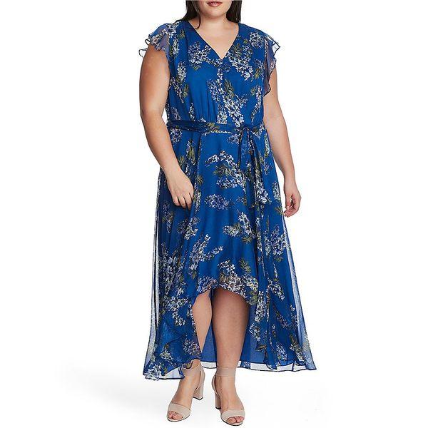 ヴィンスカムート レディース ワンピース トップス Plus Size Ruffled Sleeveless Floral Wrap Dress Dusk Blue