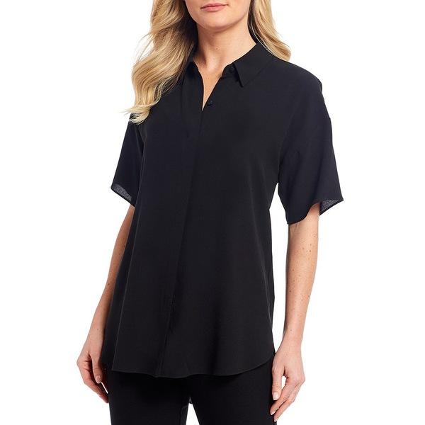 エイリーンフィッシャー レディース シャツ トップス Silk Georgette Crepe Classic Collar Short Sleeve Shirt Black