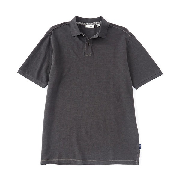 ロウン メンズ ポロシャツ トップス Short-Sleeve Slub Pique Organic Cotton Polo Medium Charcoal