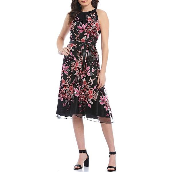 タハリエーエスエル レディース ワンピース トップス Petite Size Floral Embroidered Midi Dress Black/Pink