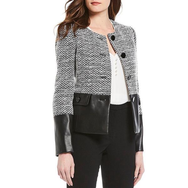 カールラガーフェルド レディース ジャケット&ブルゾン アウター Tweed & Faux Leather Long Sleeve Jacket Black/Soft White