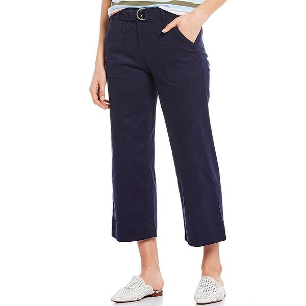 ウェストボンド レディース カジュアルパンツ ボトムス Belted Crop Wide Leg Pants Evening Blue