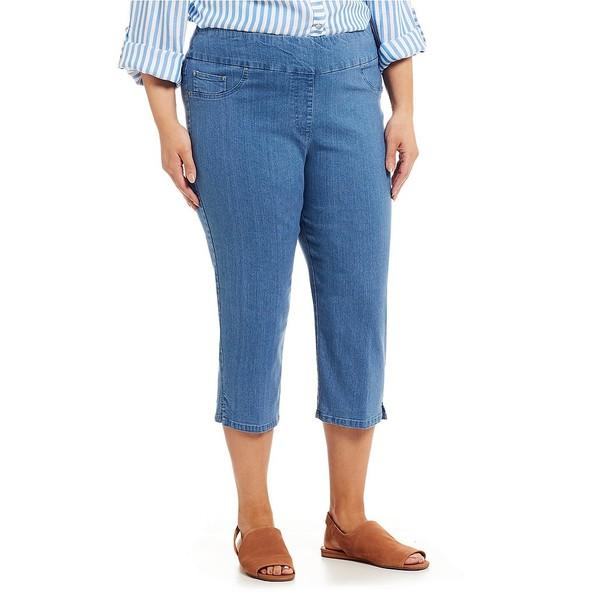ルビーロード レディース カジュアルパンツ ボトムス Plus Size Pull-On Extra Stretch Denim Cropped Capri Blue Denim