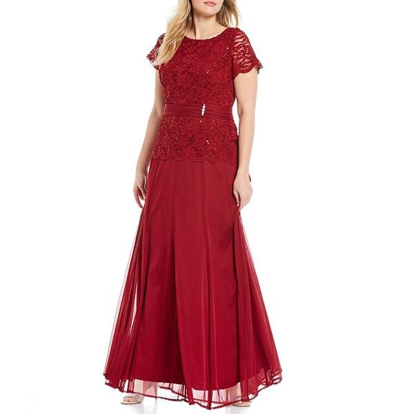 マリーナ レディース ワンピース トップス Plus Size Lace Bodice Long Gown Medium Red