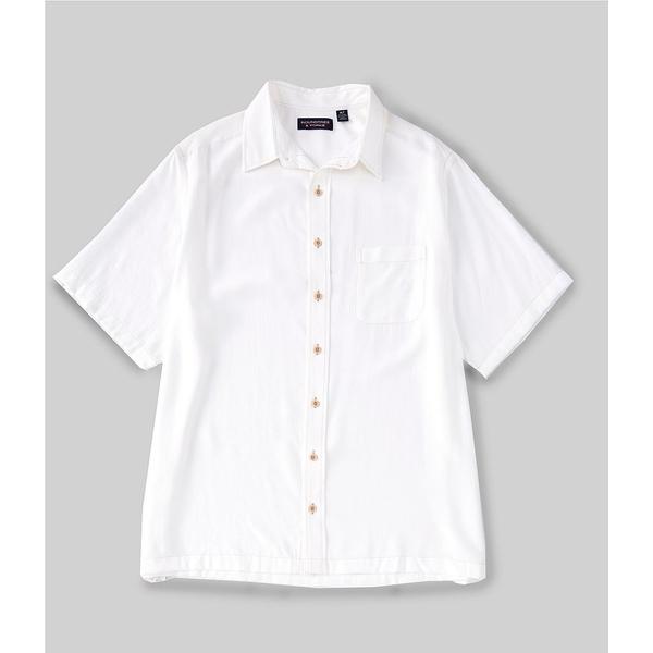 ランドツリーアンドヨーク メンズ シャツ トップス Big & Tall Short-Sleeve Solid Textured Shirt White
