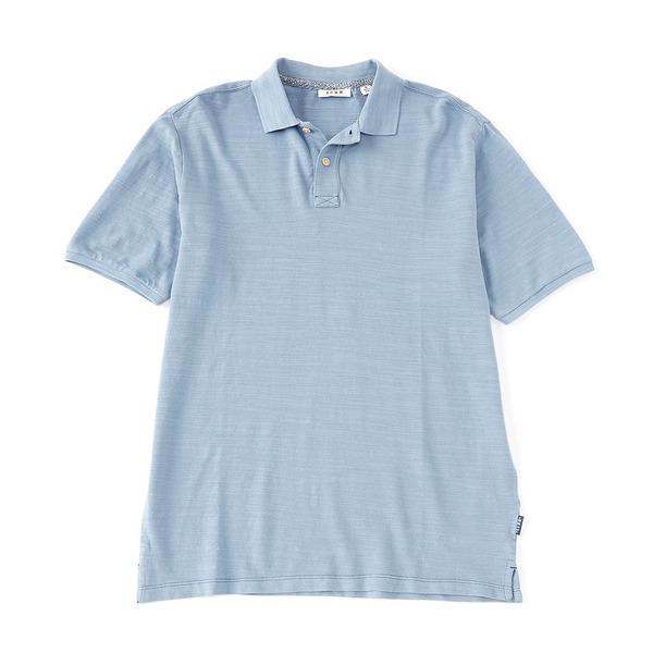 ロウン メンズ シャツ トップス Big & Tall Short-Sleeve Slub Pique Organic Cotton Polo Dusty Blue